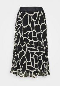 DKNY - PRINTED PLEATED SKIRT WAIST BAND - A-line skirt - black/french vanilla - 0