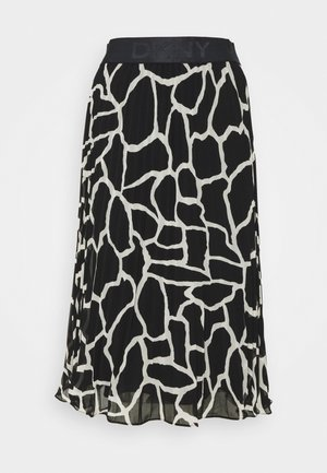 PRINTED PLEATED SKIRT WAIST BAND - Áčková sukně - black/french vanilla