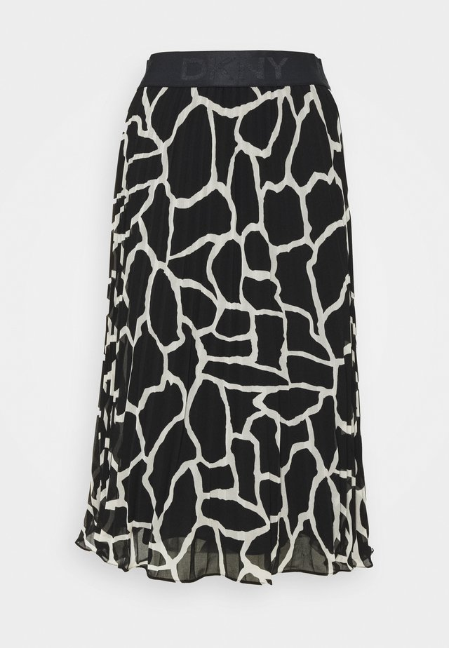 PRINTED PLEATED SKIRT WAIST BAND - A-snit nederdel/ A-formede nederdele - black/french vanilla