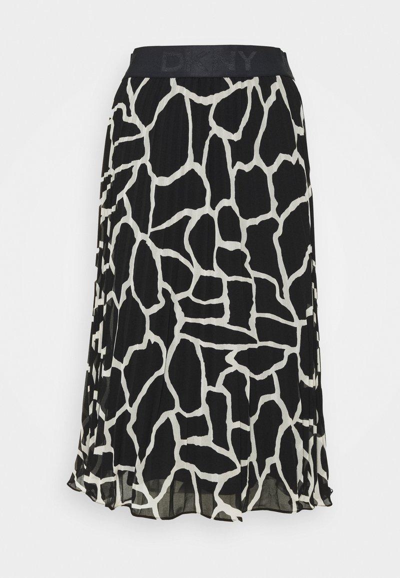 DKNY - PRINTED PLEATED SKIRT WAIST BAND - A-line skirt - black/french vanilla