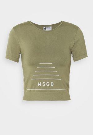 MSGD SEAMLESS CROP  - Print T-shirt - khaki
