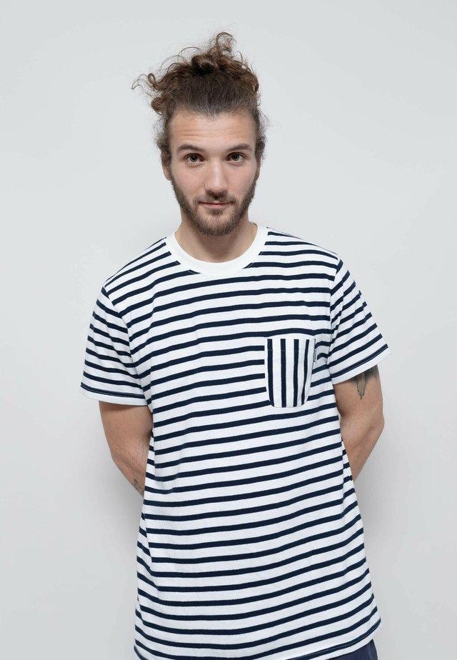 T-shirt print - off white-navy blue