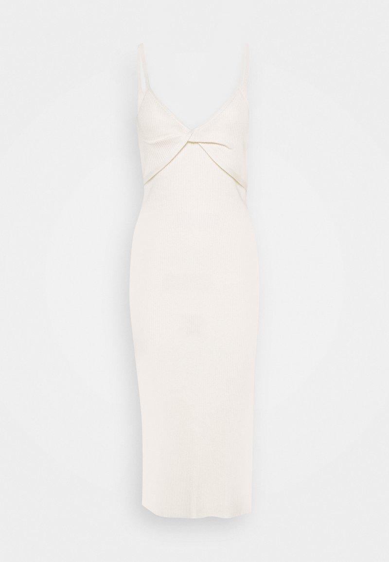 Abercrombie & Fitch - TWIST FRONT MIDI DRESS - Vestido de punto - cream