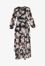 HIGH LOW BALLOON MIDI DRESS FLORAL - Maxi šaty - black