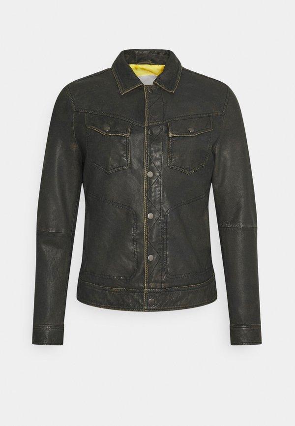 Goosecraft ASPEN JACKET - Kurtka skÓrzana - vintage brown/ciemnobrązowy Odzież Męska QKLG