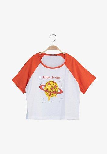 Print T-shirt - white/orange