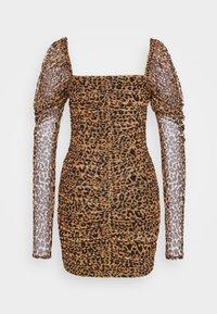 Missguided Tall - LEOPARD RUCHED MINI DRESS - Etui-jurk - tan - 1