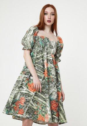 Day dress - khaki, koralle