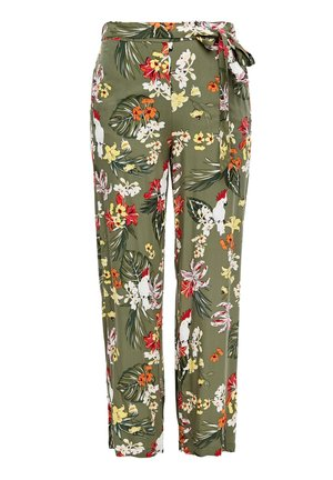 Trousers - khaki aop flowers