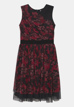 CONTRAST PRINT DRESS WITH WAISTBAND - Cocktailjurk - berry/black