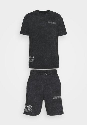 WASHED TWINSET UNISEX - T-shirt imprimé - black