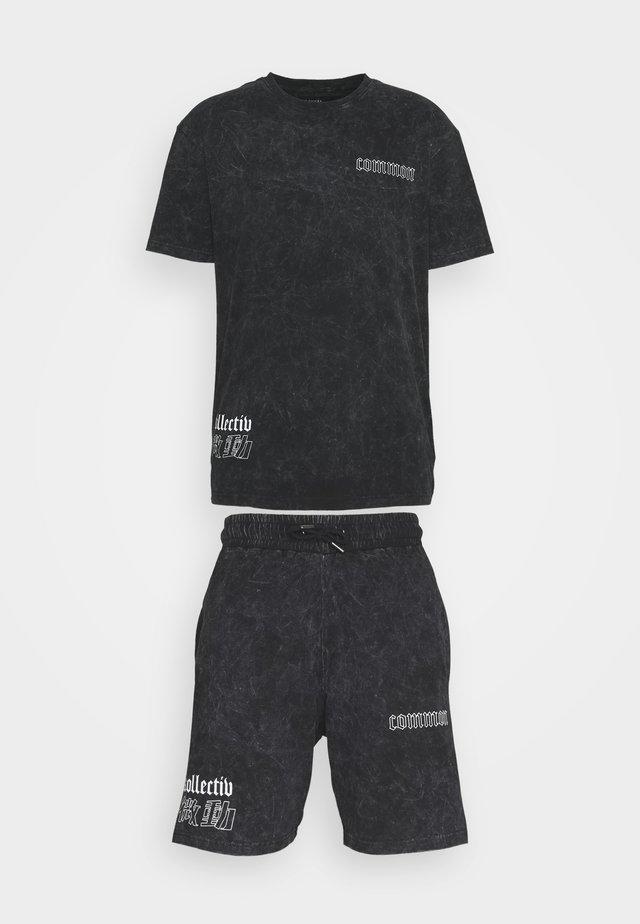 WASHED TWINSET UNISEX - T-shirt z nadrukiem - black