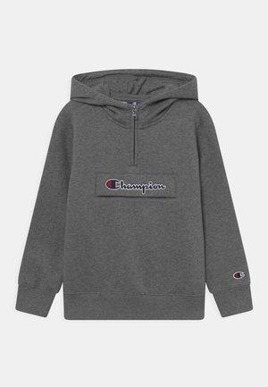 CHAMPION LOGO HOODED HALF ZIP UNISEX - Sweatshirt - mottled grey