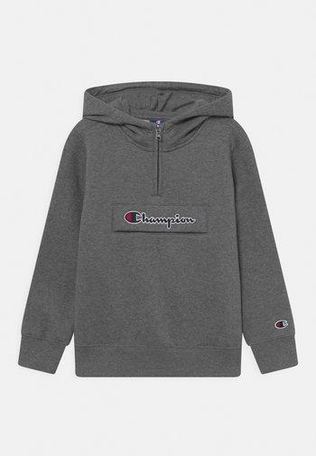 CHAMPION LOGO HOODED HALF ZIP UNISEX - Sweater - mottled grey