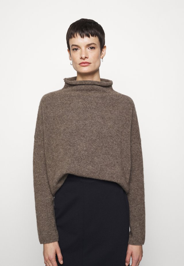 MIKA FUNNEL NECK - Jumper - dark taupe mel