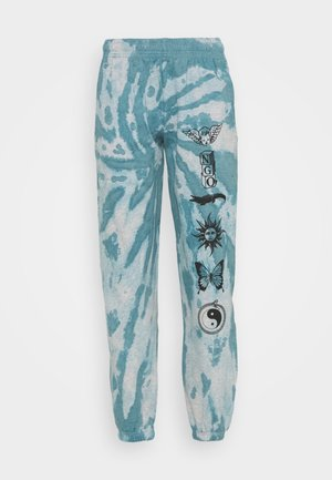 TIE DYE ETCHED GRAPHIC JOGGER - Tracksuit bottoms - dark blue