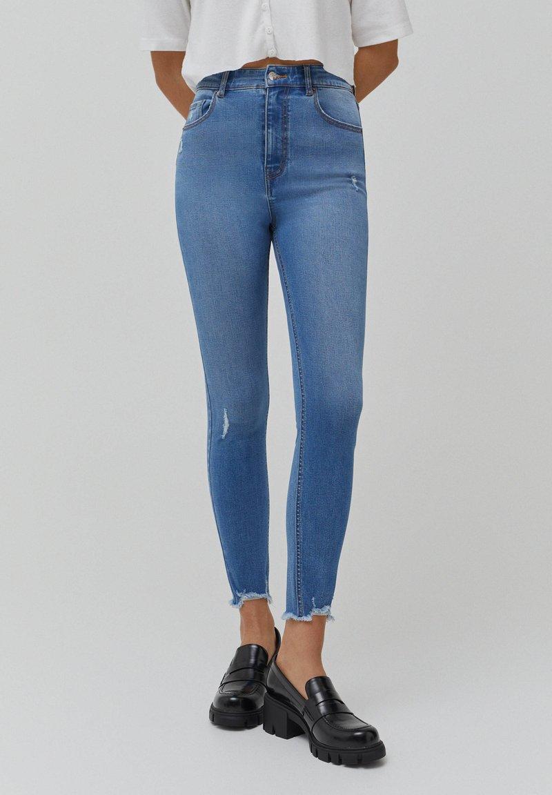 PULL&BEAR - SKINNY HIGH WAIST - Jeans Skinny Fit - blue