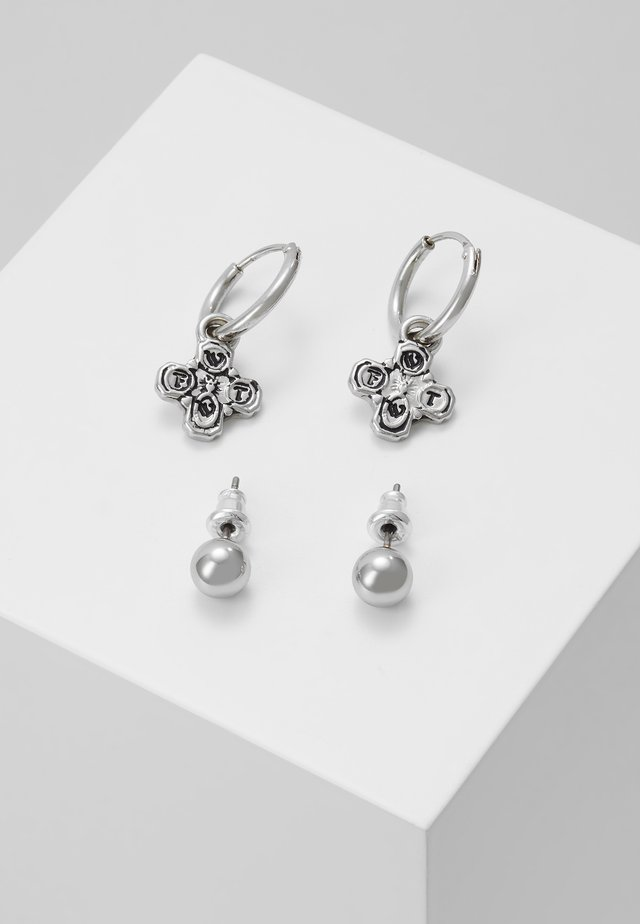 CROSS DROP AND STUD EARRINGS 2 PACK - Orecchini - silver-coloured