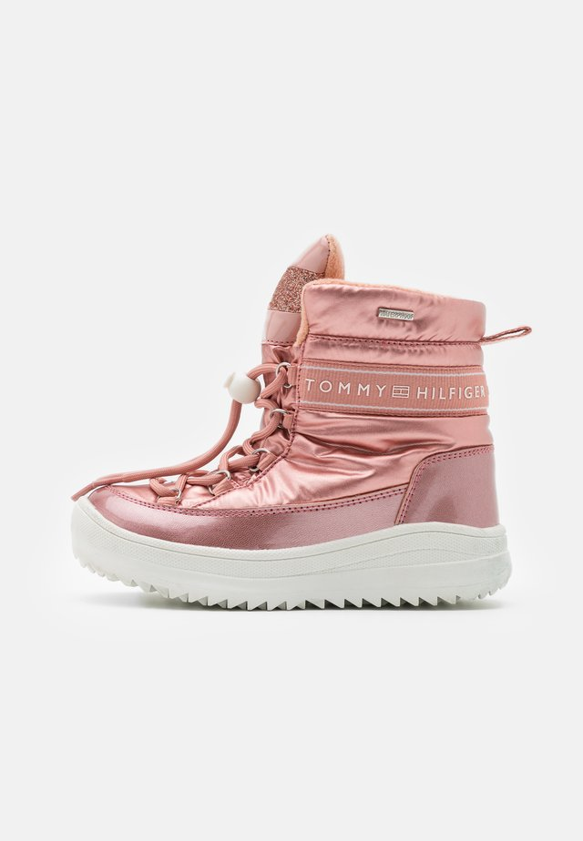 Lace-up ankle boots - powder pink