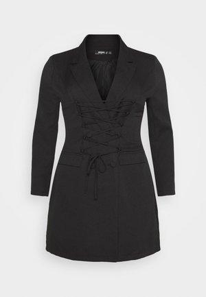 LACE UP FRONT BLAZER DRESS - Day dress - black