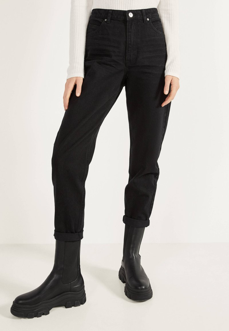 Bershka - MOM - Jean droit - black
