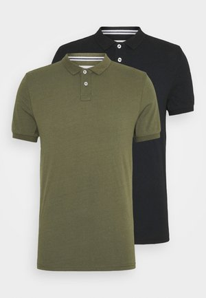 2 PACK - Polo shirt - black/khaki
