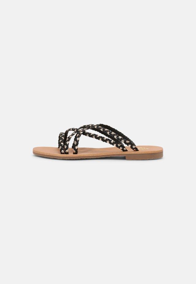 DEHALI - Pantofle - noir/oro