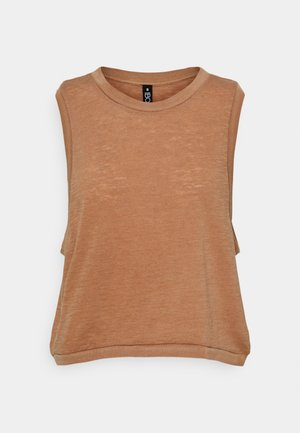 ALL THINGS FABULOUS CROPPED MUSCLE TANK - Toppi - cashew washed