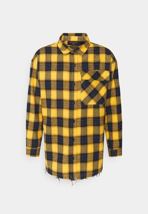 OVERSIZED CHECK WITH COUTURE APPLIQUE SIGNATURE - Shirt - yellow/blue