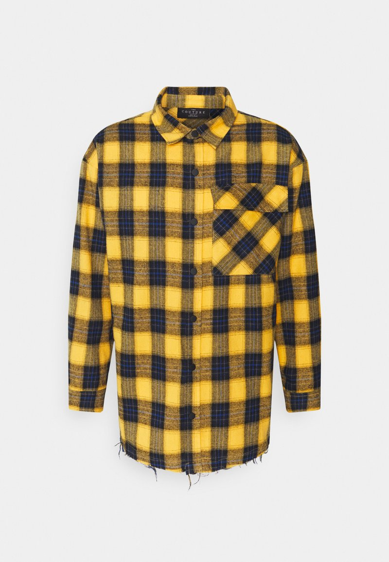 The Couture Club - OVERSIZED CHECK WITH COUTURE APPLIQUE SIGNATURE - Skjorta - yellow/blue