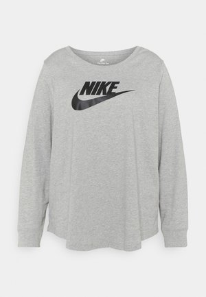 Long sleeved top - grey heather/white