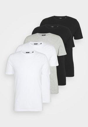 ONSBASIC LIFE 5 PACK - T-shirt - bas - black/grey/white