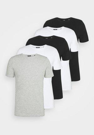 ONSBASIC LIFE 5 PACK - Basic T-shirt - black/grey/white