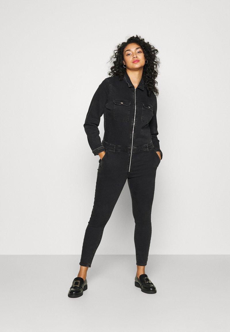 ONLY Carmakoma - CARCALLI ZIP - Jumpsuit - black denim