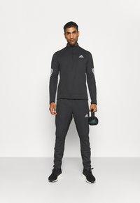 adidas Performance - 1/4 ZIP TRAINING WORKOUT AEROREADY PRIMEGREEN - Long sleeved top - black - 1