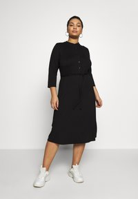 Dorothy Perkins Curve - GRANDAD COLLAR DRESS - Jersey dress - black - 0