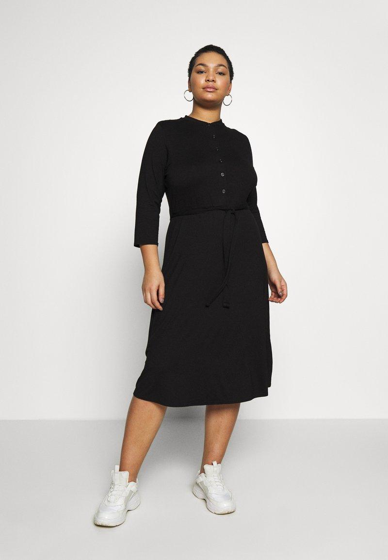 Dorothy Perkins Curve - GRANDAD COLLAR DRESS - Jersey dress - black