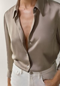 Massimo Dutti - Button-down blouse - beige - 3