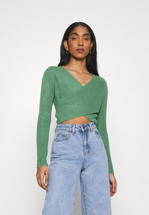 CROSS FRONT JUMPER - Pullover - green