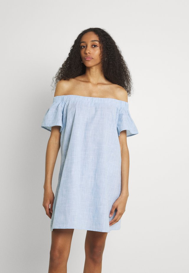 CHAMBRAY BARDOT MINI DRESS - Robe d'été - blue