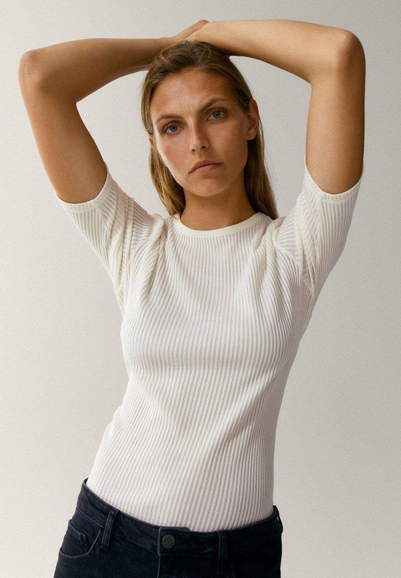 Massimo Dutti - CREW NECK - T-shirt basic - white
