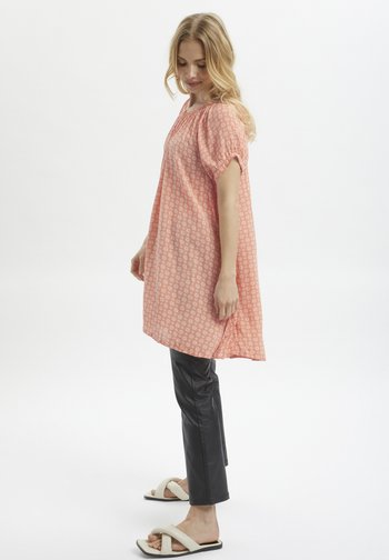 Tunic - coral and chalk small graphic