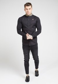 SIKSILK - LONG SLEEVE TAPE COLLAR - Camicia - black/gold - 0