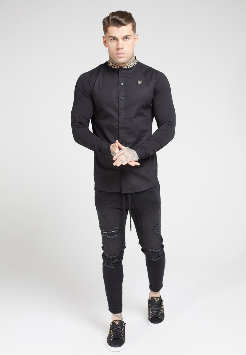 SIKSILK - LONG SLEEVE TAPE COLLAR - Camicia - black/gold