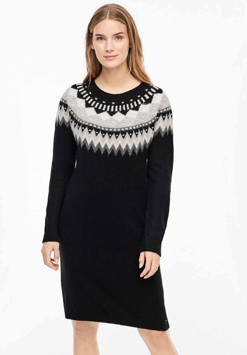 s.Oliver - MIT NORWEGERMUSTER - Jumper dress - black
