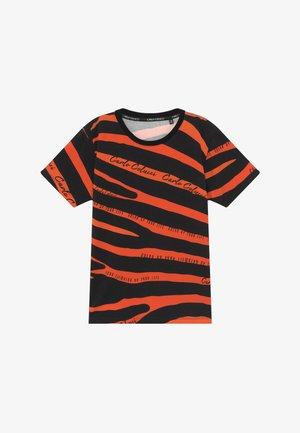 Print T-shirt - black/orange