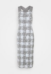 Proenza Schouler White Label - GINGHAM JACQUARD KNIT DRESS - Jumper dress - grey melange/sky - 8