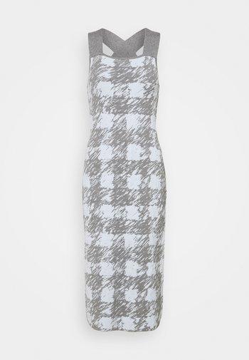 GINGHAM JACQUARD KNIT DRESS - Jumper dress - grey melange/sky