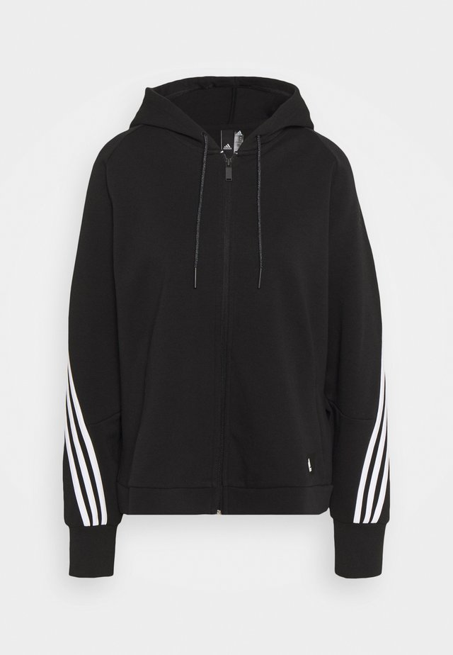 LINEAR FULL ZIP ESSENTIALS SPORTS HOODIE - veste en sweat zippée - black/white