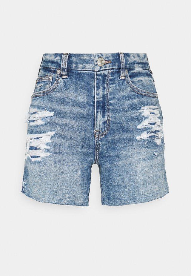 CURVY HIGH RISE - Denim shorts - bright indigo